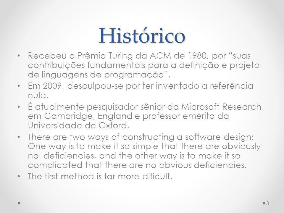 Histórico Recebeu o Prêmio Turing da ACM de 1980, por suas contribuições fundamentais para a definição e projeto de linguagens de programação. Em 2009