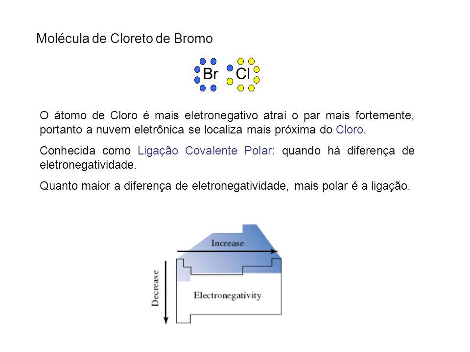 Molécula de Cloreto de Bromo Br Cl O átomo de Cloro é mais eletronegativo atrai o par mais fortemente, portanto a nuvem eletrônica se localiza mais pr