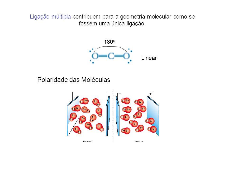 Ligação múltipla contribuem para a geometria molecular como se fossem uma única ligação. 180 o Polaridade das Moléculas Linear