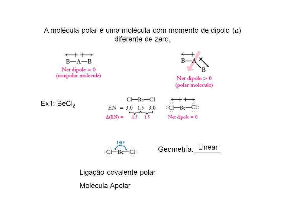 A molécula polar é uma molécula com momento de dipolo ( ) diferente de zero. Ex1: BeCl 2 Geometria:_______ Ligação covalente polar Molécula Apolar Lin
