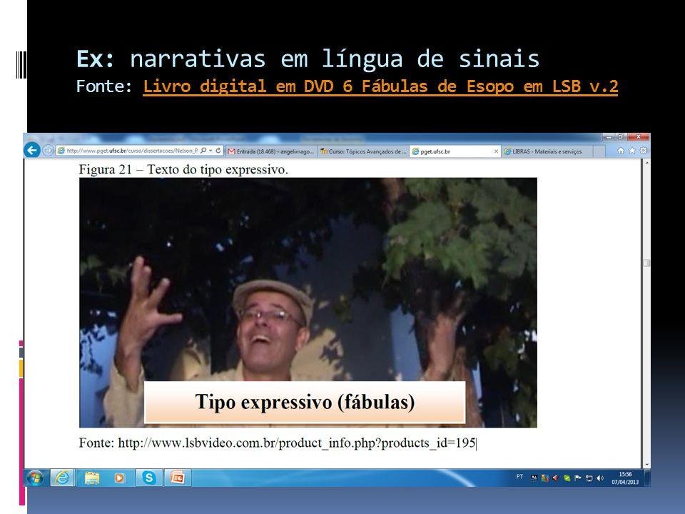 Ex: narrativas em língua de sinais Fonte: Livro digital em DVD 6 Fábulas de Esopo em LSB v.2Livro digital em DVD 6 Fábulas de Esopo em LSB v.2
