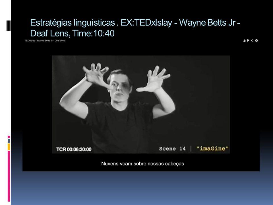 Estratégias linguísticas. EX:TEDxIslay - Wayne Betts Jr - Deaf Lens, Time:10:40