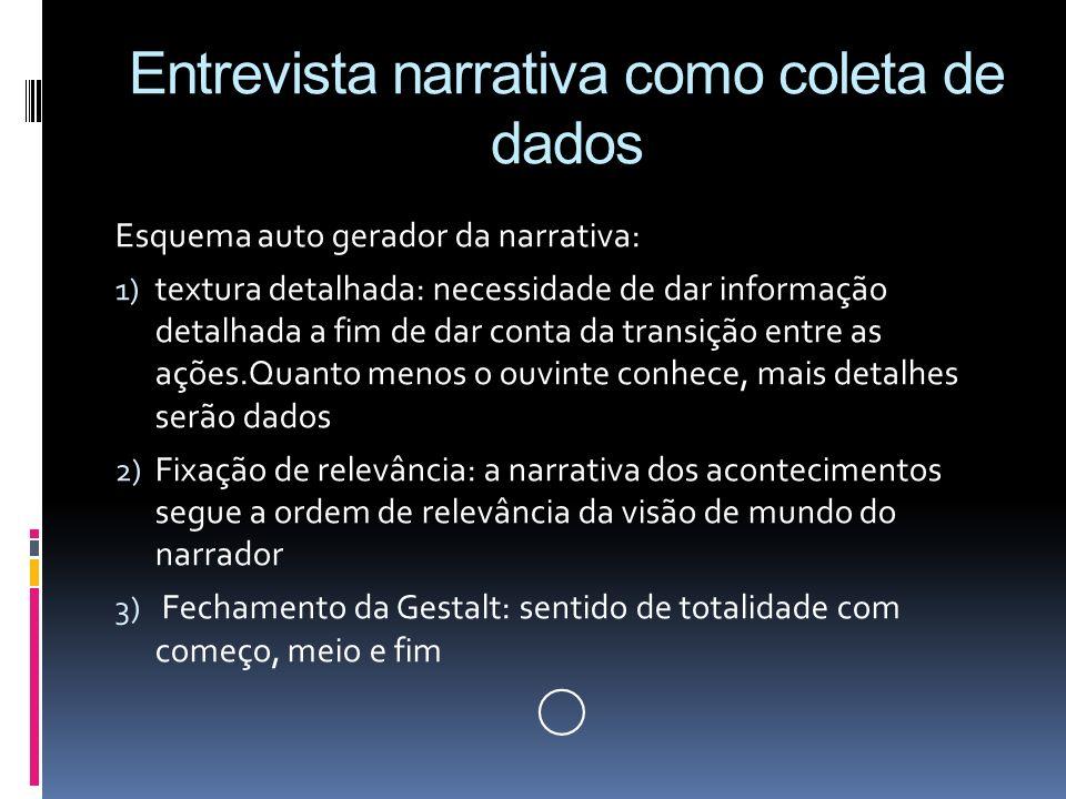 Entrevista narrativa como coleta de dados Esquema auto gerador da narrativa: 1) textura detalhada: necessidade de dar informação detalhada a fim de da