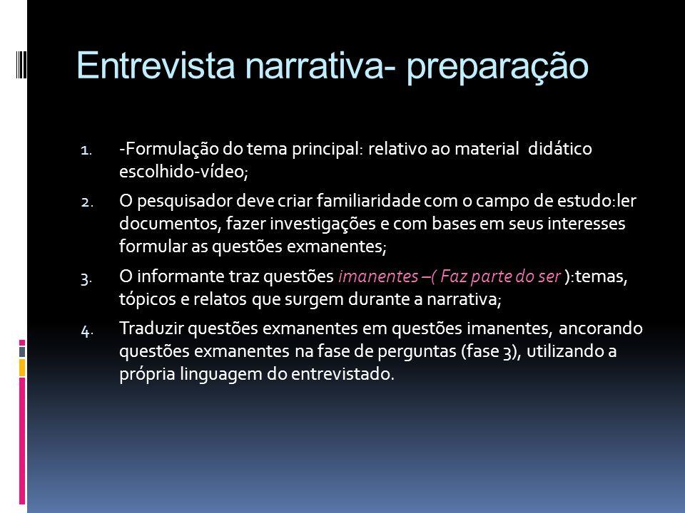 Entrevista narrativa- preparação 1. -Formulação do tema principal: relativo ao material didático escolhido-vídeo; 2. O pesquisador deve criar familiar