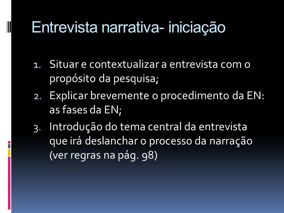 Entrevista narrativa- iniciação 1. Situar e contextualizar a entrevista com o propósito da pesquisa; 2. Explicar brevemente o procedimento da EN: as f