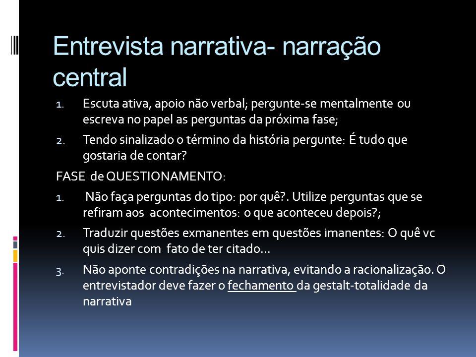 Entrevista narrativa- narração central 1. Escuta ativa, apoio não verbal; pergunte-se mentalmente ou escreva no papel as perguntas da próxima fase; 2.