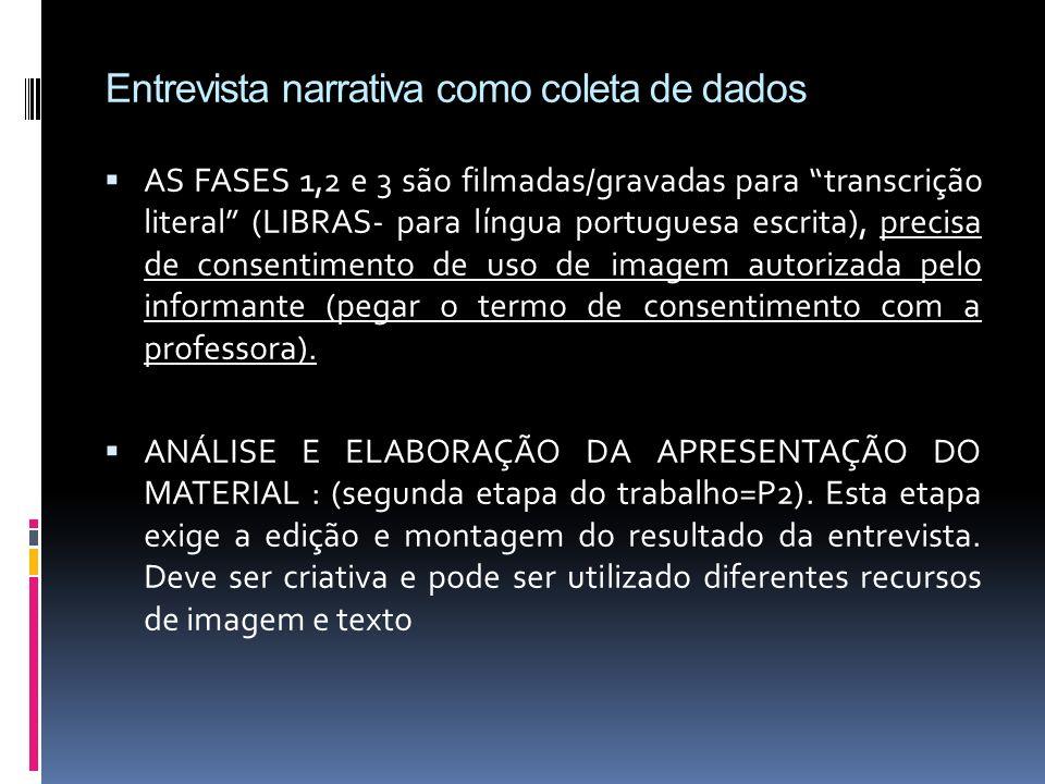 Entrevista narrativa como coleta de dados AS FASES 1,2 e 3 são filmadas/gravadas para transcrição literal (LIBRAS- para língua portuguesa escrita), pr