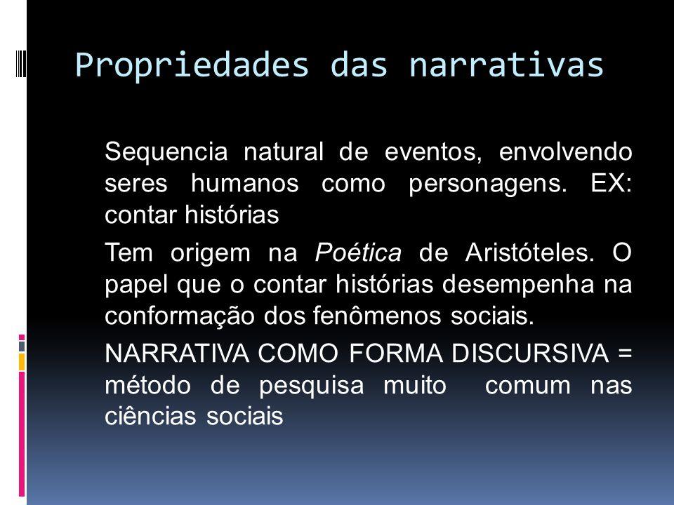 Propriedades das narrativas Sequencia natural de eventos, envolvendo seres humanos como personagens. EX: contar histórias Tem origem na Poética de Ari