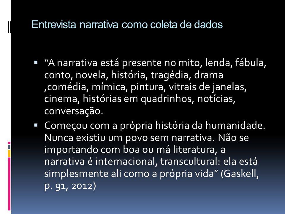 Entrevista narrativa como coleta de dados A narrativa está presente no mito, lenda, fábula, conto, novela, história, tragédia, drama,comédia, mímica,