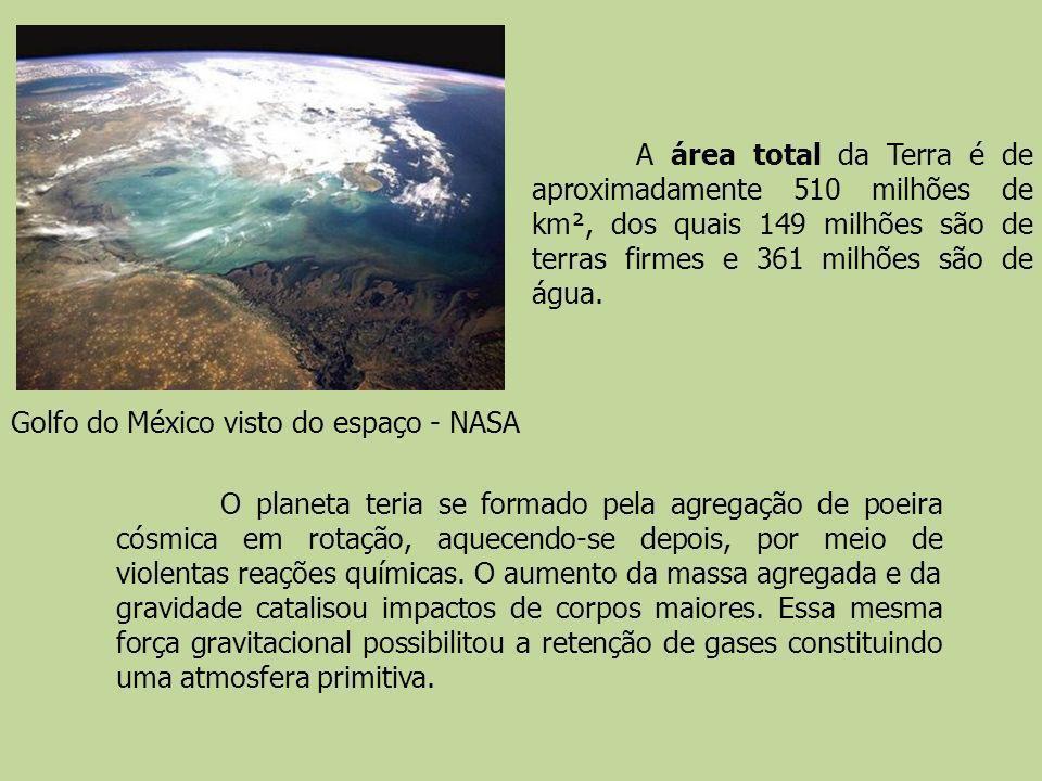 Golfo do México visto do espaço - NASA A área total da Terra é de aproximadamente 510 milhões de km², dos quais 149 milhões são de terras firmes e 361