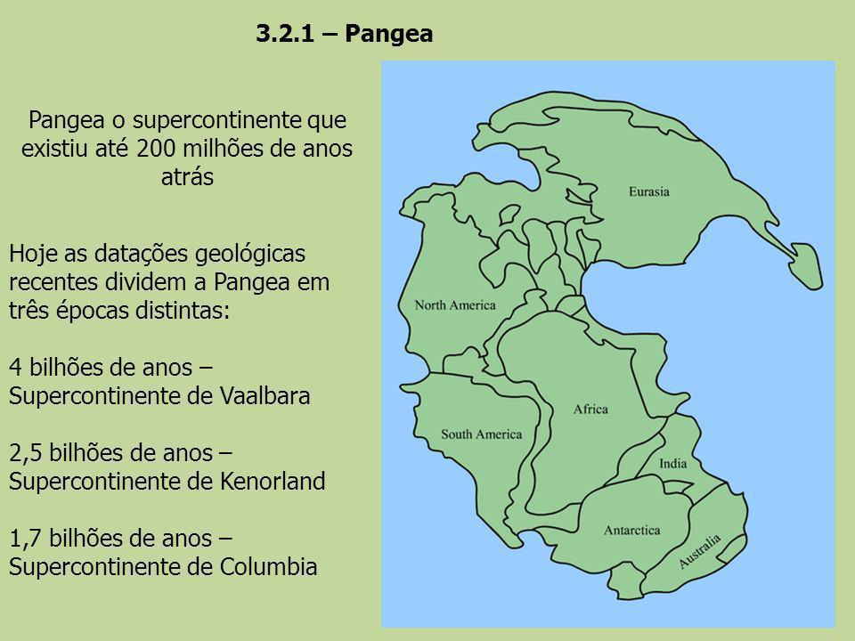 Pangea o supercontinente que existiu até 200 milhões de anos atrás Hoje as datações geológicas recentes dividem a Pangea em três épocas distintas: 4 b