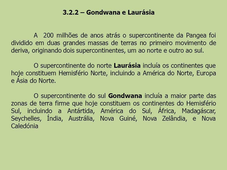 A 200 milhões de anos atrás o supercontinente da Pangea foi dividido em duas grandes massas de terras no primeiro movimento de deriva, originando dois