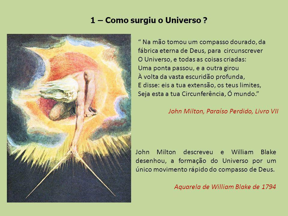 1 – Como surgiu o Universo ? Na mão tomou um compasso dourado, da fábrica eterna de Deus, para circunscrever O Universo, e todas as coisas criadas: Um