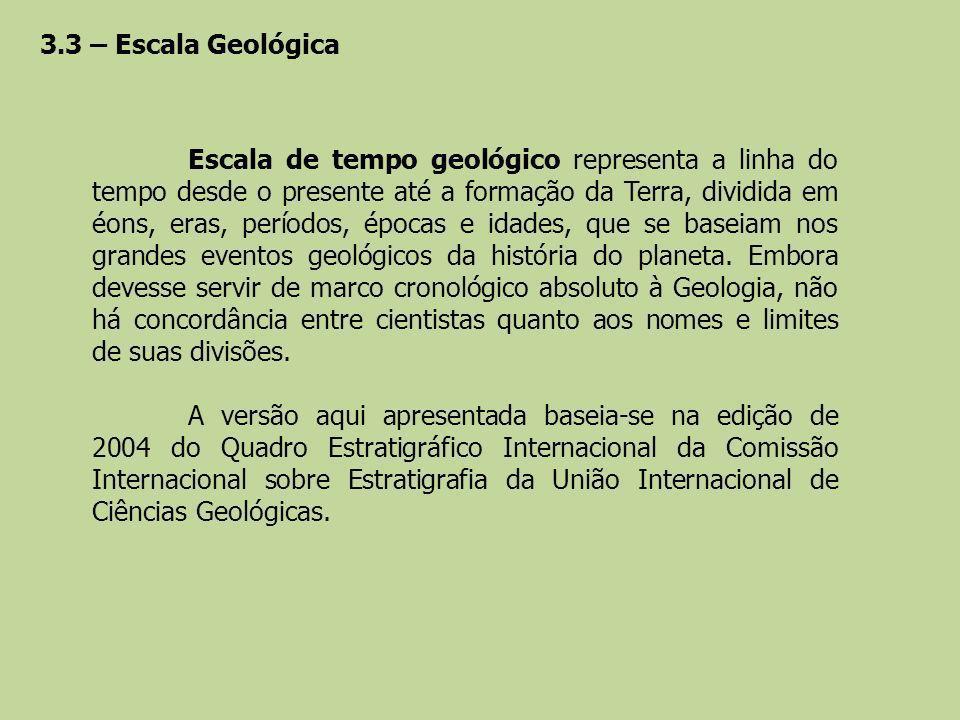 3.3 – Escala Geológica Escala de tempo geológico representa a linha do tempo desde o presente até a formação da Terra, dividida em éons, eras, período