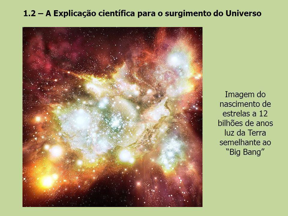 1.2 – A Explicação científica para o surgimento do Universo Imagem do nascimento de estrelas a 12 bilhões de anos luz da Terra semelhante ao Big Bang