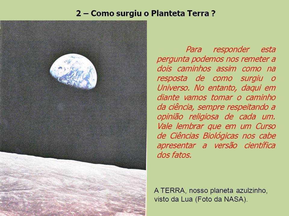 2 – Como surgiu o Planteta Terra ? A TERRA, nosso planeta azulzinho, visto da Lua (Foto da NASA). Para responder esta pergunta podemos nos remeter a d