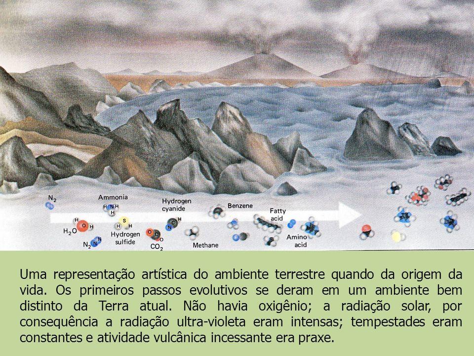 Uma representação artística do ambiente terrestre quando da origem da vida. Os primeiros passos evolutivos se deram em um ambiente bem distinto da Ter