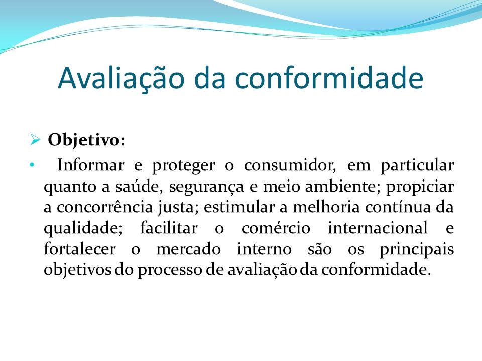 Avaliação da conformidade Objetivo: Informar e proteger o consumidor, em particular quanto a saúde, segurança e meio ambiente; propiciar a concorrênci