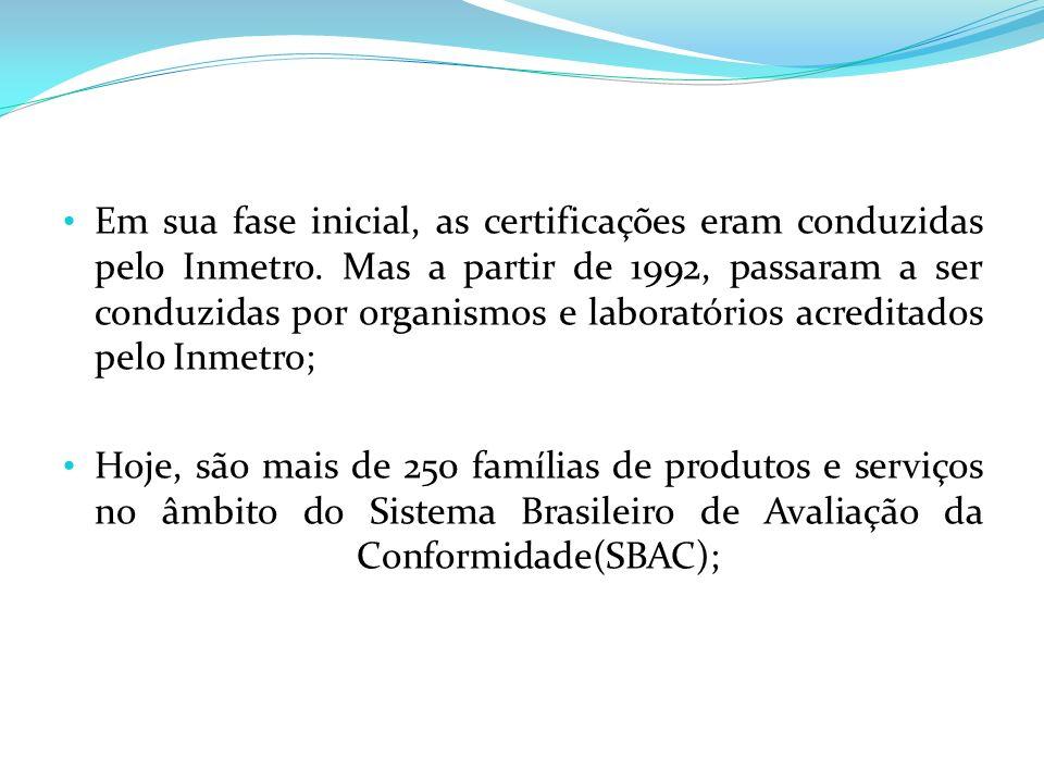 Em sua fase inicial, as certificações eram conduzidas pelo Inmetro. Mas a partir de 1992, passaram a ser conduzidas por organismos e laboratórios acre