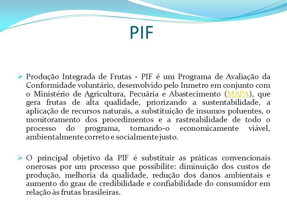 PIF Produção Integrada de Frutas - PIF é um Programa de Avaliação da Conformidade voluntário, desenvolvido pelo Inmetro em conjunto com o Ministério d