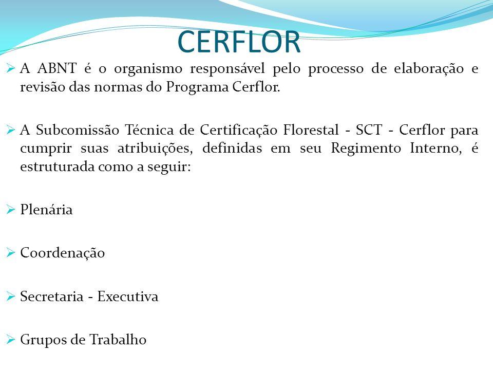 CERFLOR A ABNT é o organismo responsável pelo processo de elaboração e revisão das normas do Programa Cerflor. A Subcomissão Técnica de Certificação F