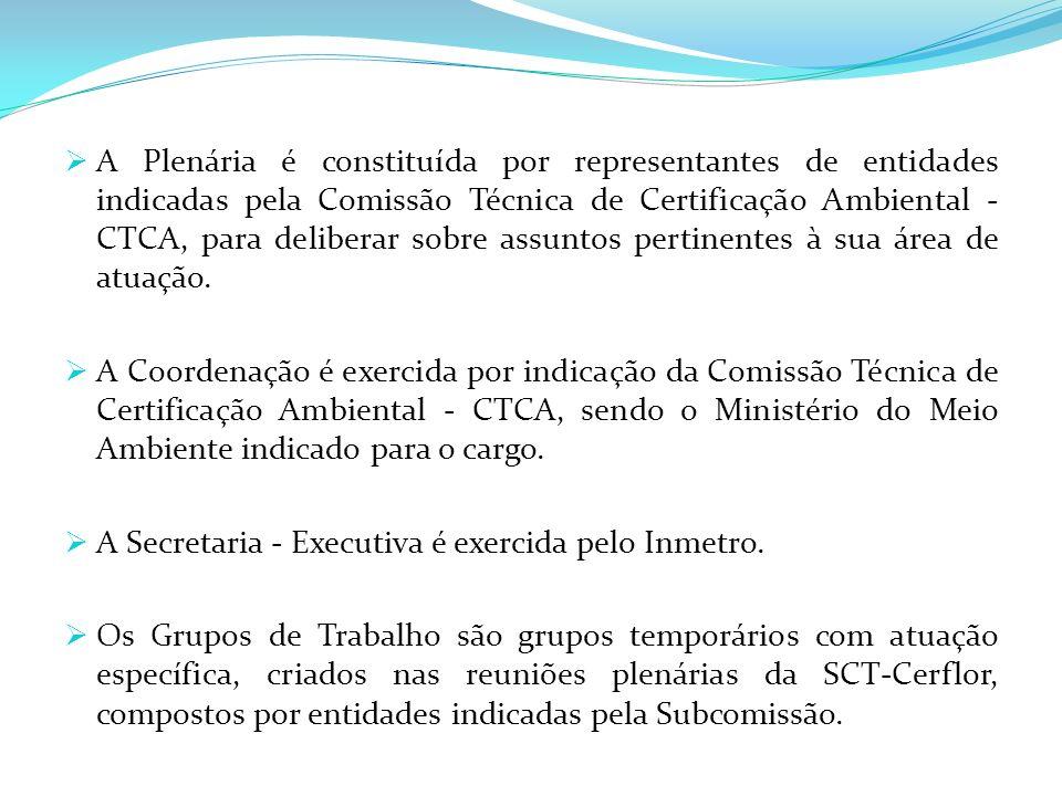 A Plenária é constituída por representantes de entidades indicadas pela Comissão Técnica de Certificação Ambiental - CTCA, para deliberar sobre assunt