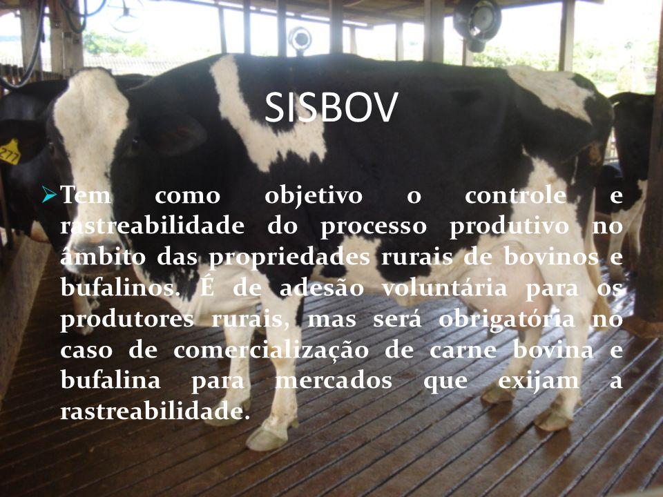 SISBOV Tem como objetivo o controle e rastreabilidade do processo produtivo no âmbito das propriedades rurais de bovinos e bufalinos. É de adesão volu
