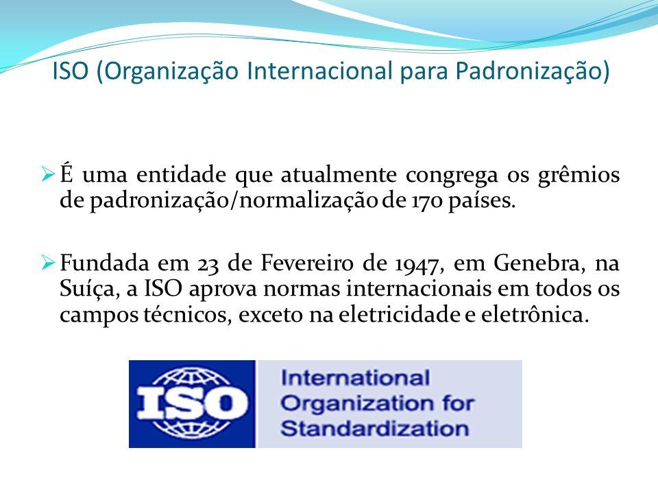 ISO (Organização Internacional para Padronização) É uma entidade que atualmente congrega os grêmios de padronização/normalização de 170 países. Fundad