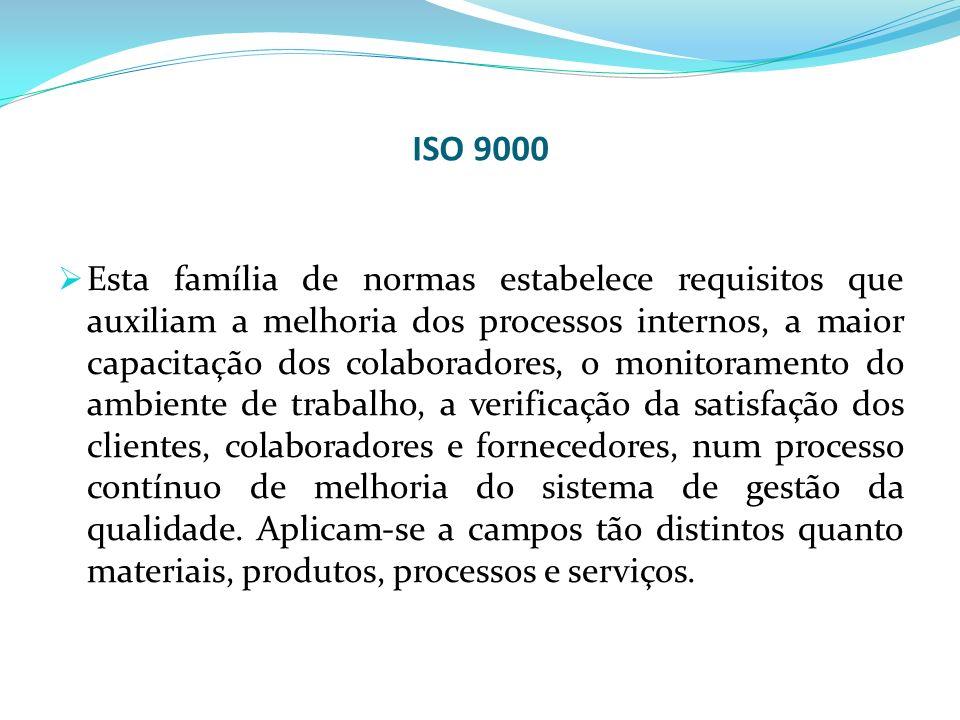 ISO 9000 Esta família de normas estabelece requisitos que auxiliam a melhoria dos processos internos, a maior capacitação dos colaboradores, o monitor