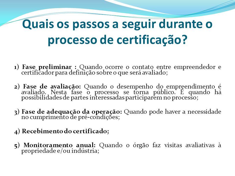 Quais os passos a seguir durante o processo de certificação? 1) Fase preliminar : Quando ocorre o contato entre empreendedor e certificador para defin