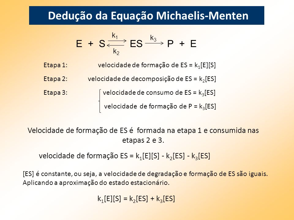 Dedução da Equação Michaelis-Menten Etapa 1: velocidade de formação de ES = k 1 [E][S] Etapa 2: velocidade de decomposição de ES = k 2 [ES] Etapa 3: v