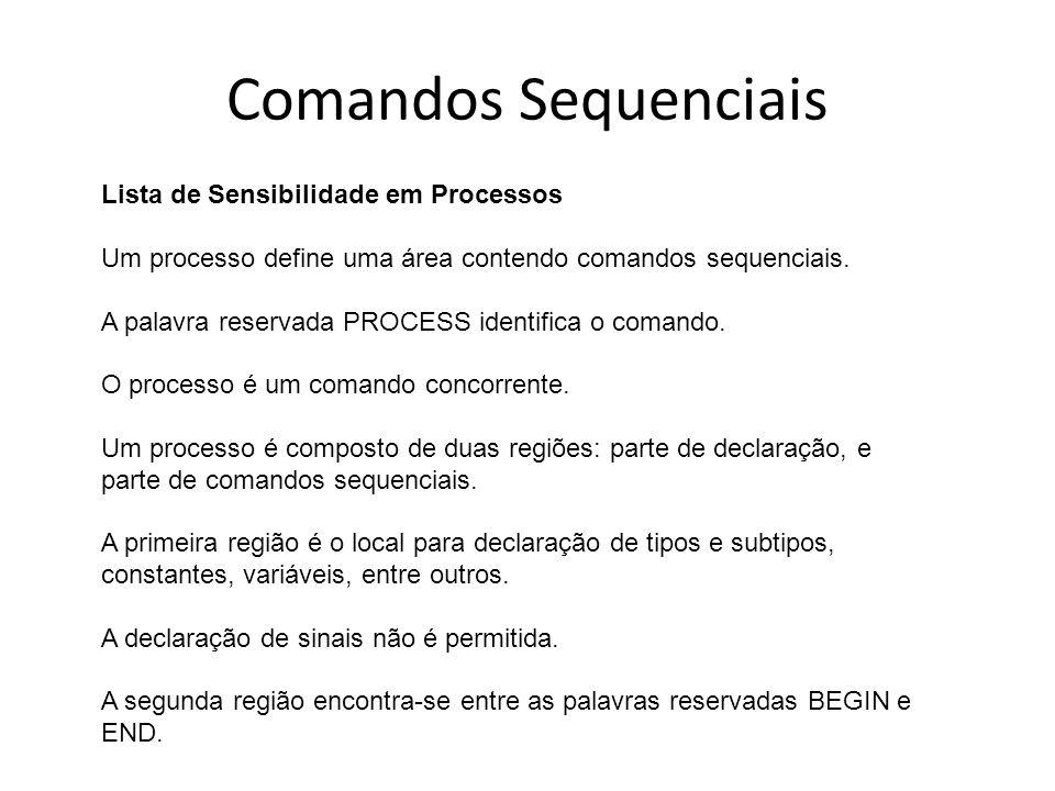 Comandos Sequenciais Lista de Sensibilidade em Processos Um processo define uma área contendo comandos sequenciais.