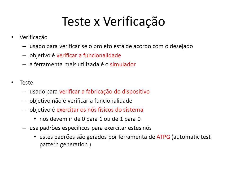 Teste x Verificação Verificação – usado para verificar se o projeto está de acordo com o desejado – objetivo é verificar a funcionalidade – a ferramenta mais utilizada é o simulador Teste – usado para verificar a fabricação do dispositivo – objetivo não é verificar a funcionalidade – objetivo é exercitar os nós físicos do sistema nós devem ir de 0 para 1 ou de 1 para 0 – usa padrões específicos para exercitar estes nós estes padrões são gerados por ferramenta de ATPG (automatic test pattern generation )