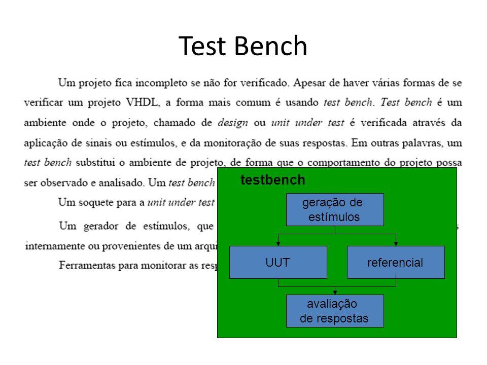 Test Bench UUT testbench geração de estímulos avaliação de respostas referencial