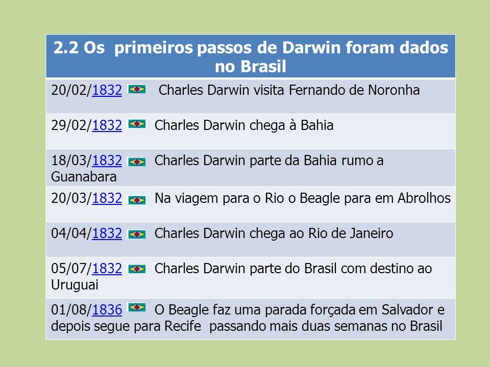 2.2 Os primeiros passos de Darwin foram dados no Brasil 20/02/1832 Charles Darwin visita Fernando de Noronha1832 29/02/1832 Charles Darwin chega à Bah