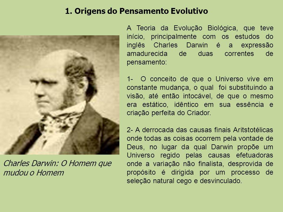 1. Origens do Pensamento Evolutivo Charles Darwin: O Homem que mudou o Homem A Teoria da Evolução Biológica, que teve início, principalmente com os es