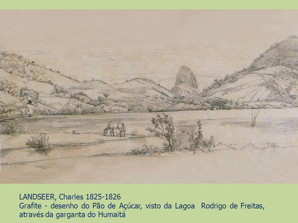 LANDSEER, Charles 1825-1826 Grafite - desenho do Pão de Açúcar, visto da Lagoa Rodrigo de Freitas, através da garganta do Humaitá