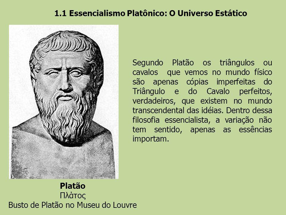 Segundo Platão os triângulos ou cavalos que vemos no mundo físico são apenas cópias imperfeitas do Triângulo e do Cavalo perfeitos, verdadeiros, que e
