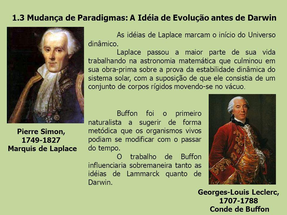 1.3 Mudança de Paradigmas: A Idéia de Evolução antes de Darwin Pierre Simon, 1749-1827 Marquis de Laplace Georges-Louis Leclerc, 1707-1788 Conde de Bu