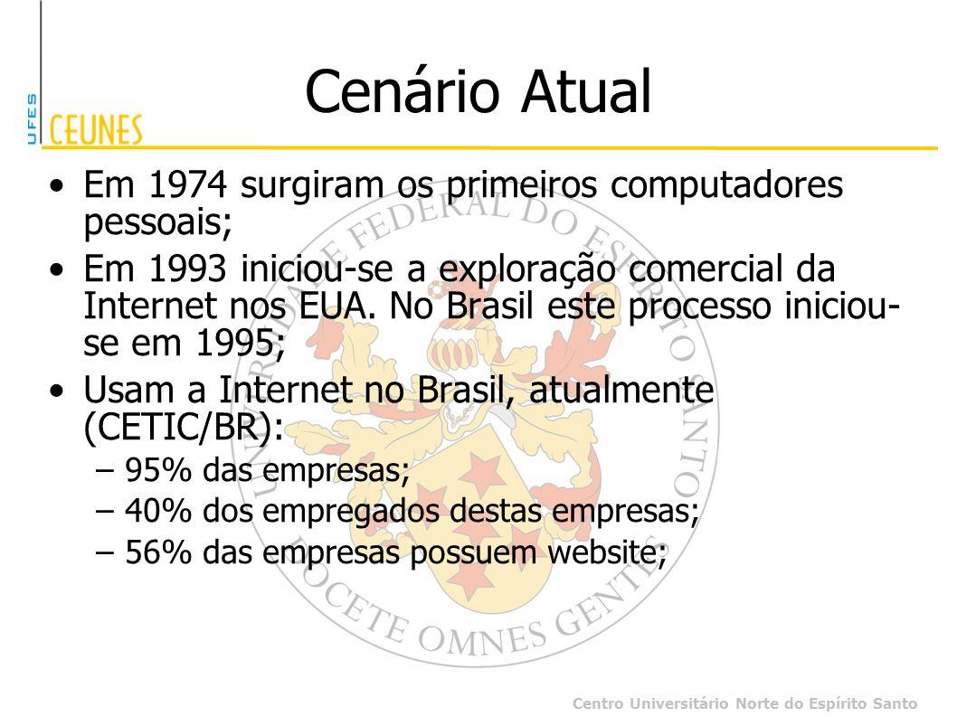 Centro Universitário Norte do Espírito Santo Cenário Atual Em 1974 surgiram os primeiros computadores pessoais; Em 1993 iniciou-se a exploração comerc