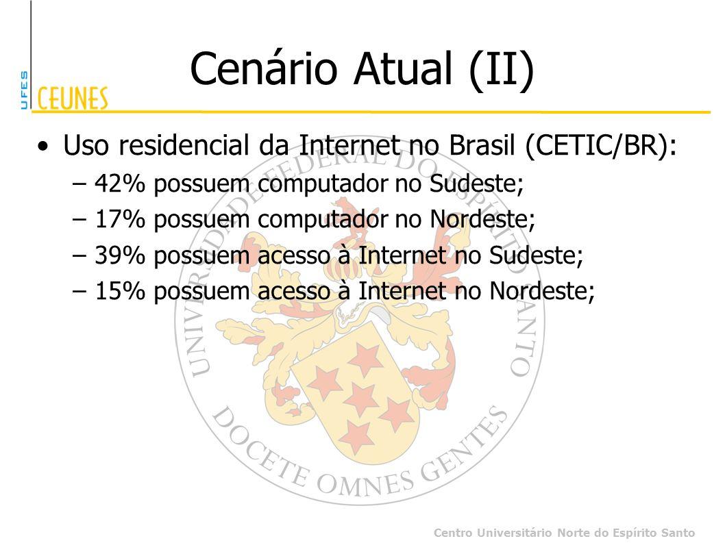 Centro Universitário Norte do Espírito Santo Cenário Atual (II) Uso residencial da Internet no Brasil (CETIC/BR): –42% possuem computador no Sudeste;