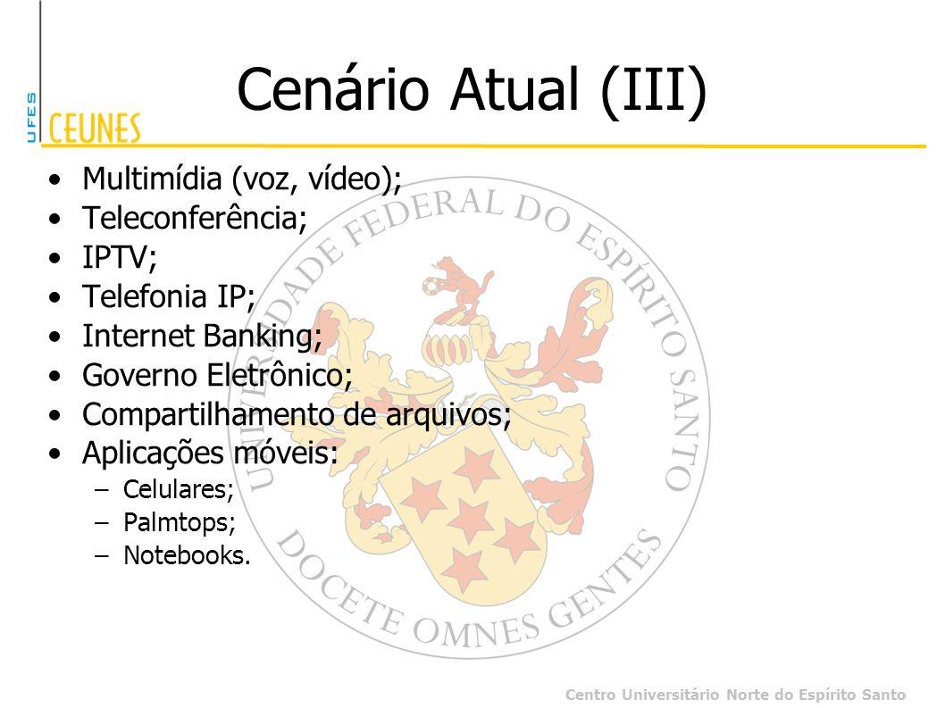 Centro Universitário Norte do Espírito Santo Cenário Atual (III) Multimídia (voz, vídeo); Teleconferência; IPTV; Telefonia IP; Internet Banking; Gover