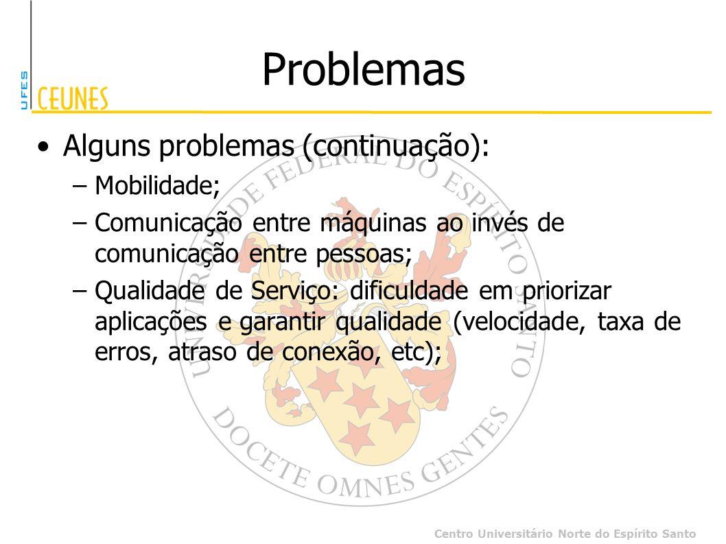 Centro Universitário Norte do Espírito Santo Problemas Alguns problemas (continuação): –Mobilidade; –Comunicação entre máquinas ao invés de comunicaçã