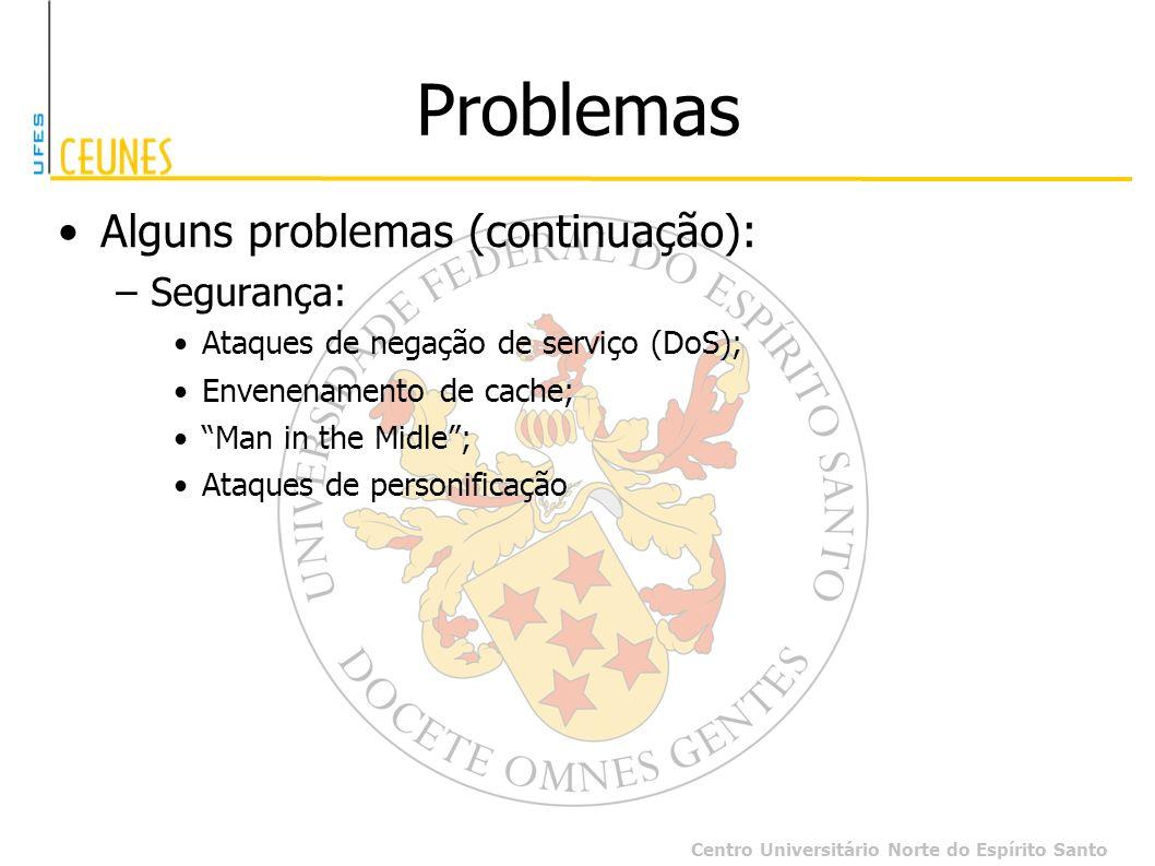 Centro Universitário Norte do Espírito Santo Problemas Alguns problemas (continuação): –Segurança: Ataques de negação de serviço (DoS); Envenenamento