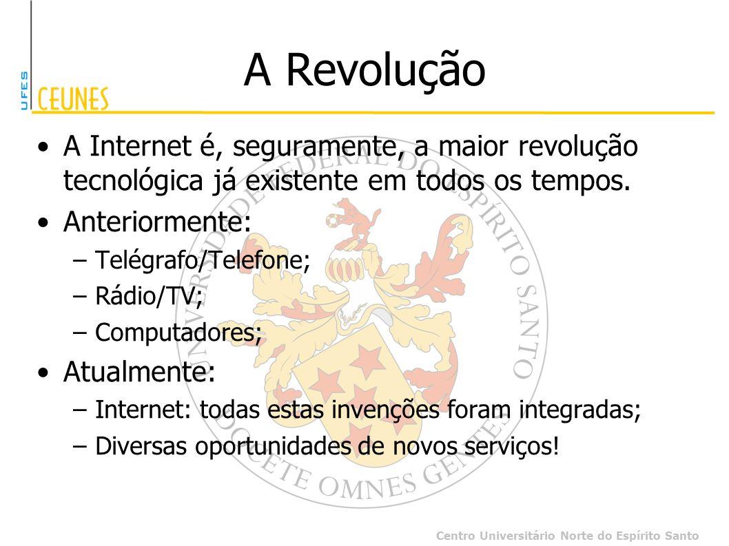 Centro Universitário Norte do Espírito Santo A Revolução A Internet é, seguramente, a maior revolução tecnológica já existente em todos os tempos. Ant