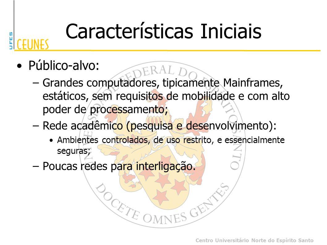 Centro Universitário Norte do Espírito Santo Características Iniciais Público-alvo: –Grandes computadores, tipicamente Mainframes, estáticos, sem requ