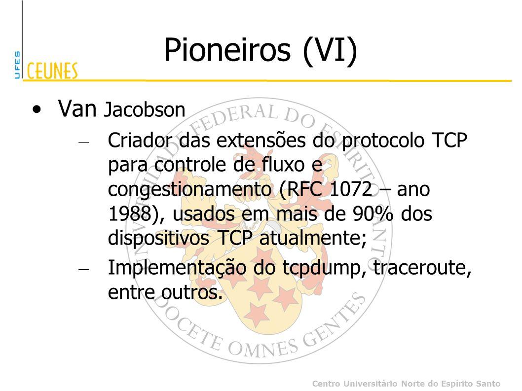 Centro Universitário Norte do Espírito Santo Pioneiros (VI) Van Jacobson – Criador das extensões do protocolo TCP para controle de fluxo e congestiona