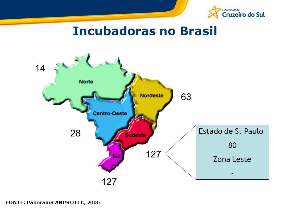 FONTE: Panorama ANPROTEC, 2006 Incubadoras no Brasil 14 28 63 127 Estado de S. Paulo 80 Zona Leste -
