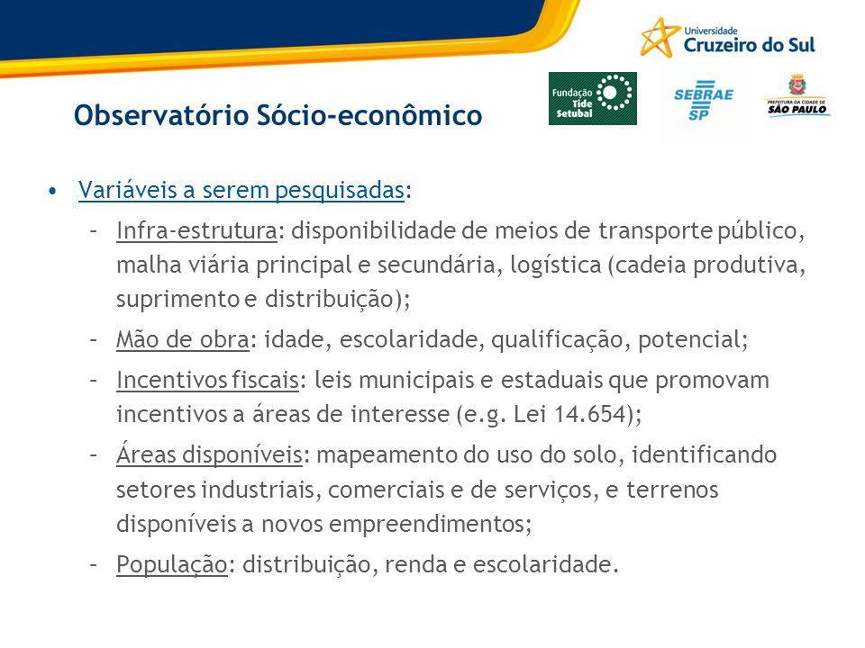 Observatório Sócio-econômico Variáveis a serem pesquisadas: –Infra-estrutura: disponibilidade de meios de transporte público, malha viária principal e
