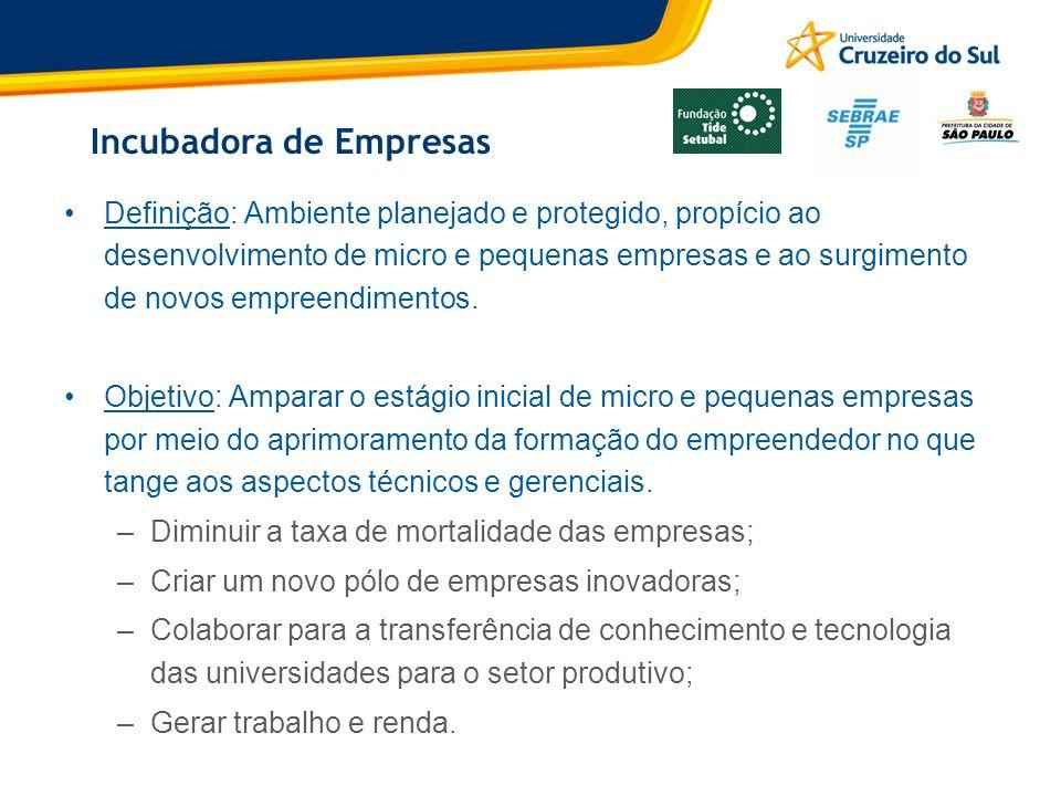 Incubadora de Empresas Definição: Ambiente planejado e protegido, propício ao desenvolvimento de micro e pequenas empresas e ao surgimento de novos em